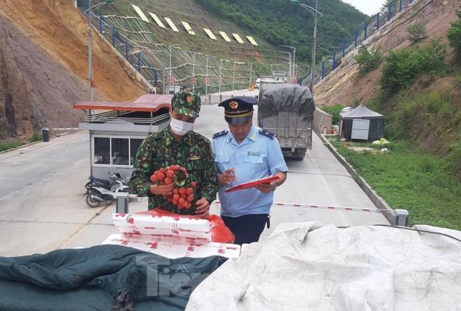 Lực lượng Biên phòng, Hải Quan làm thủ tục xuất khẩu quả vải tươi sang Trung Quốc .Ảnh: Duy Chiến