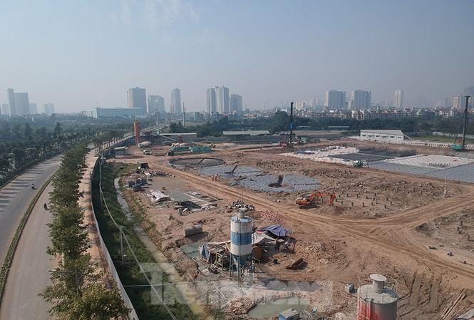 Nhà máy xử lý nước thải Yên Xá nhìn từ trên cao.