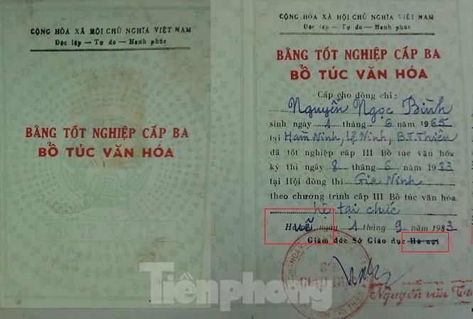Bằng tốt nghiệp cấp 3 bổ túc văn hóa của ông Bình gạch và chèn chữ Huế lên chữ Hà Nội (ô vuông màu đỏ)