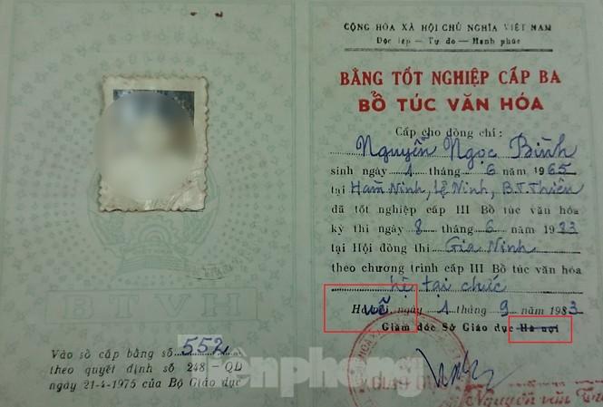 Bằng cấp 3 hệ bổ túc của ông Nguyễn Ngọc Bình – Phó Bí thư Huyện ủy, Chủ tịch HĐND huyện Mđrắk.