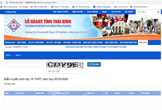 Điểm thi, điểm chuẩn lớp 10 công lập Thái Bình được công bố trên website của Sở GD- ĐT Thái Bình từ tối 15/6 - Ảnh: Hoàng Long