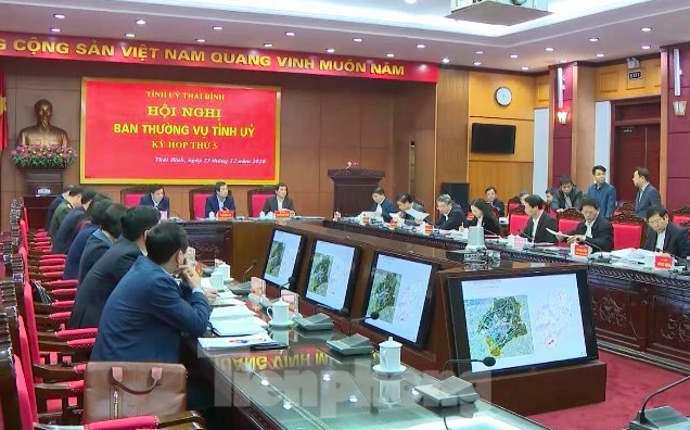 Ban Thường vụ Tỉnh uỷ Thái Bình họp, ra quyết nghị phân công, bổ nhiệm nhiều chức danh cán bộ chủ chốt - Ảnh: Hoàng Long