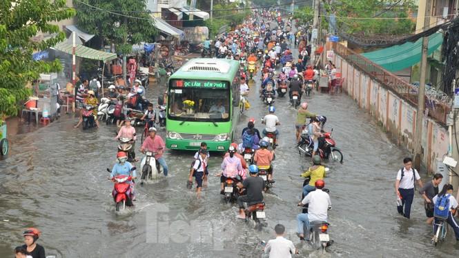 Học sinh xắn quần lội nước đến trường ngày đầu tuần vì triều cường gây ngập - ảnh 1