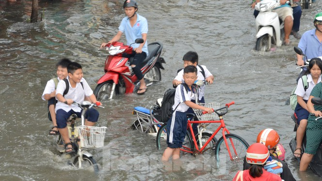 Học sinh xắn quần lội nước đến trường ngày đầu tuần vì triều cường gây ngập - ảnh 2