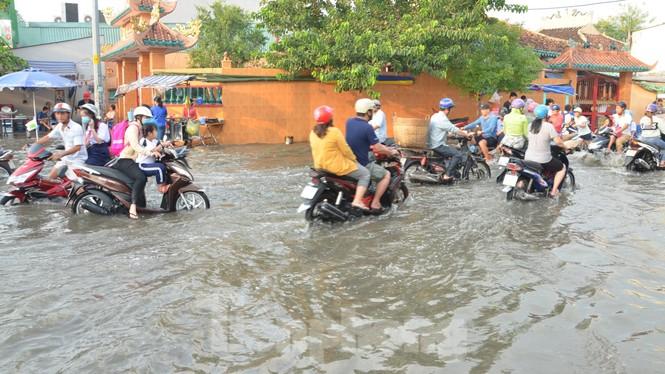 Học sinh xắn quần lội nước đến trường ngày đầu tuần vì triều cường gây ngập - ảnh 4
