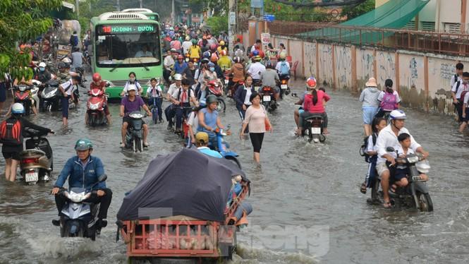 Học sinh xắn quần lội nước đến trường ngày đầu tuần vì triều cường gây ngập - ảnh 10
