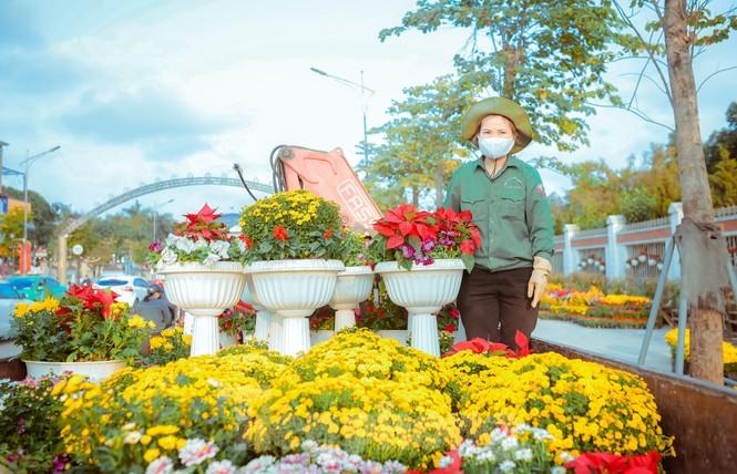 Rực rỡ sắc hoa trên phố đi bộ thành phố Vinh ngày áp tết - ảnh 3