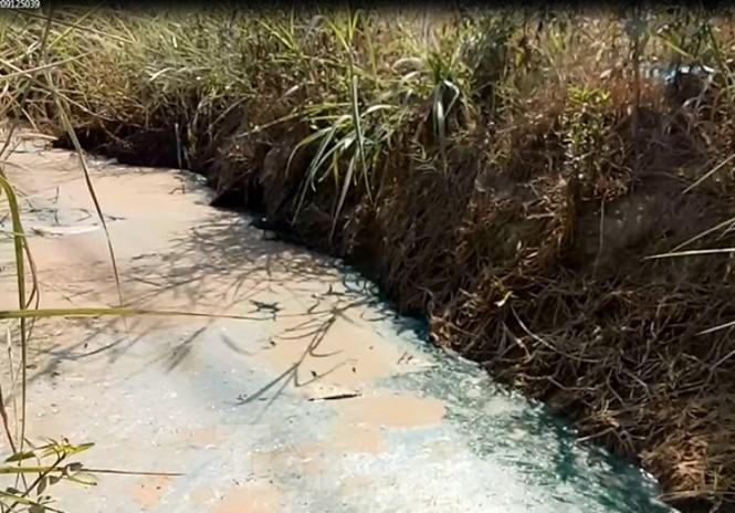Sở TNMT Bình Dương vào cuộc vụ mương nước màu xanh lạ, bốc mùi - ảnh 2