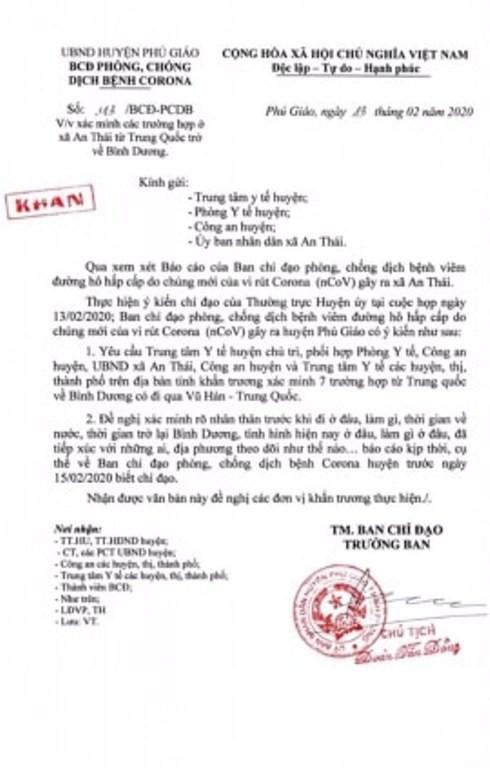 Bình Dương ra công văn khẩn về 7 người trở về từ TP Vũ Hán - ảnh 1