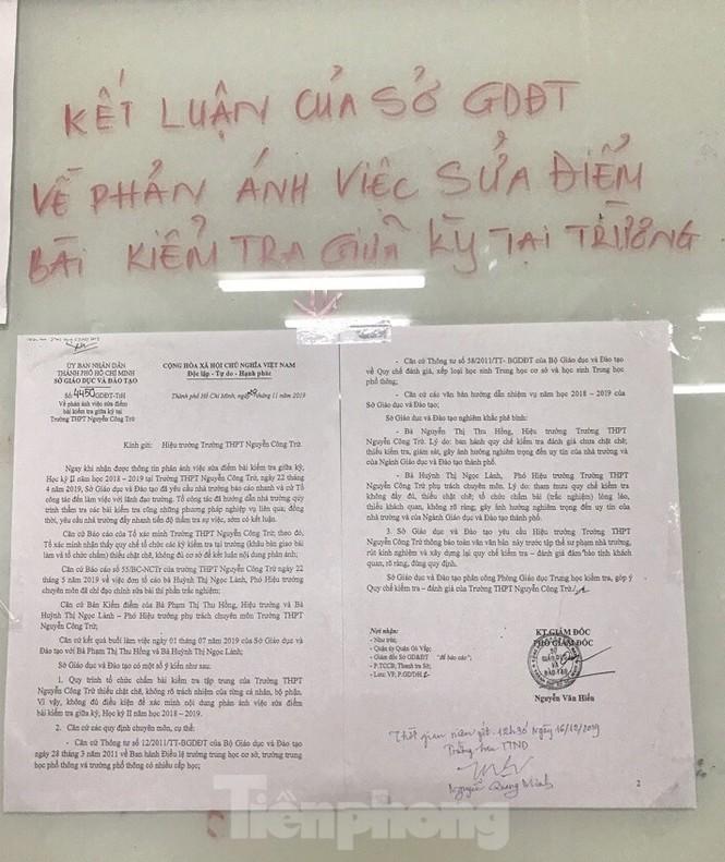 Phê bình lãnh đạo trường THPT Nguyễn Công Trứ vụ giáo viên bị tố sửa điểm học sinh - ảnh 1