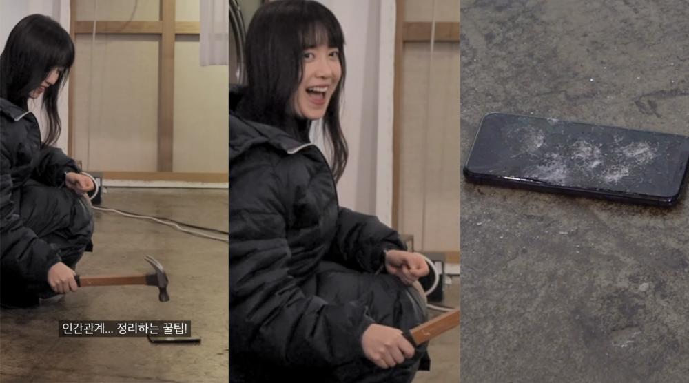 Goo Hye Sun gây tranh cãi vì thẳng tay dùng búa đập nát iPhone đắt tiền