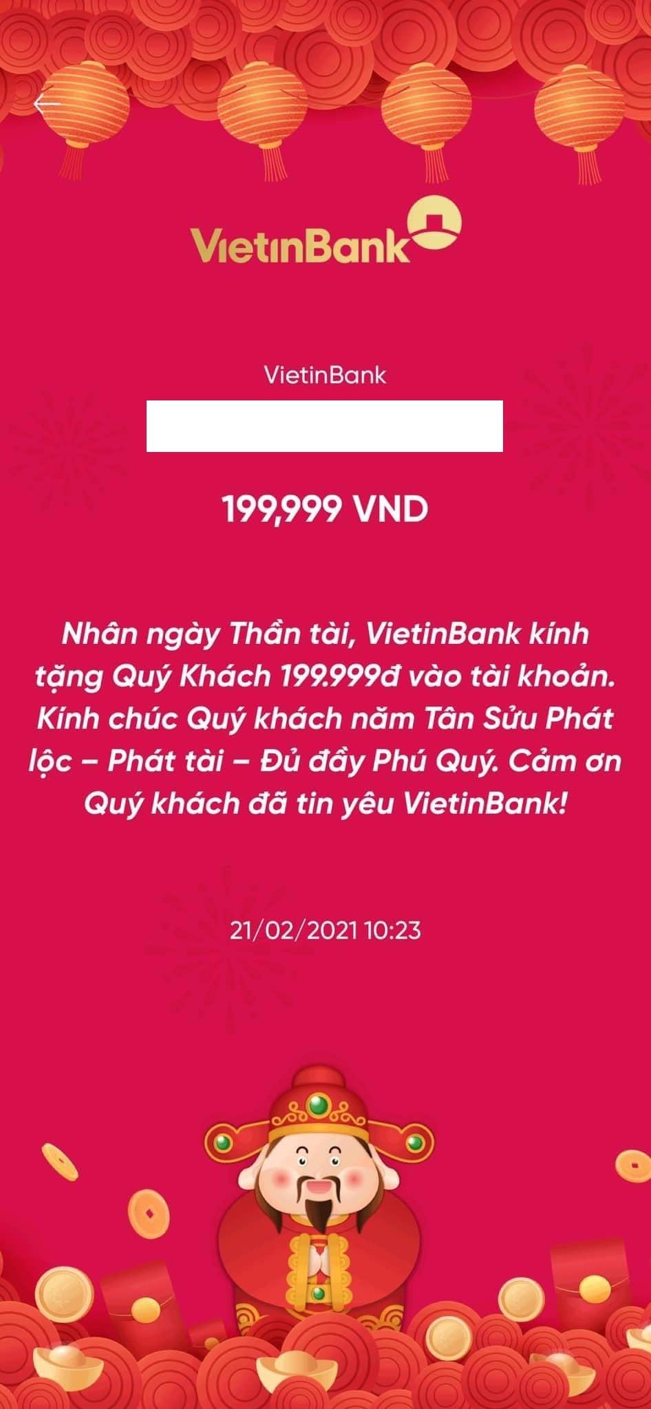 VietinBank gây sốt với cơn bão ''lì xì'' khách hàng ngày vía Thần Tài