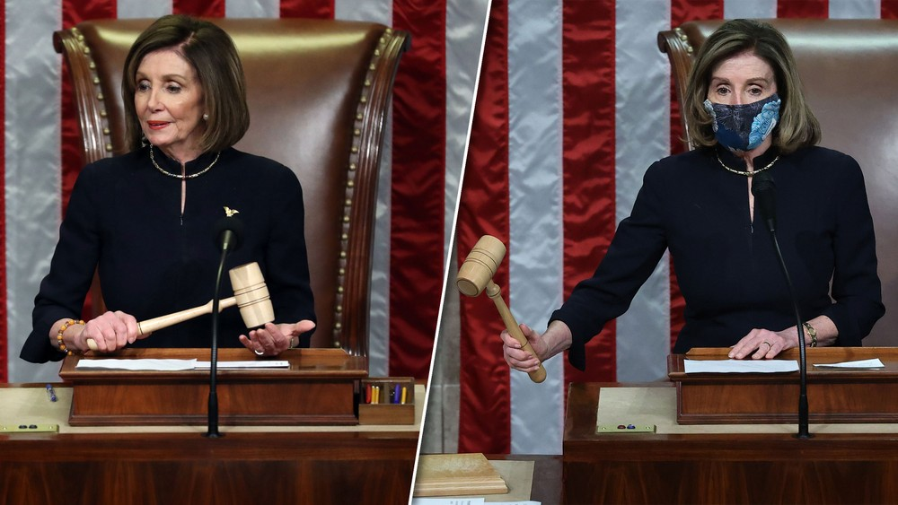 Chủ tịch Hạ viện mặc cùng một chiếc váy trong 2 phiên tòa luận tội ông Trump