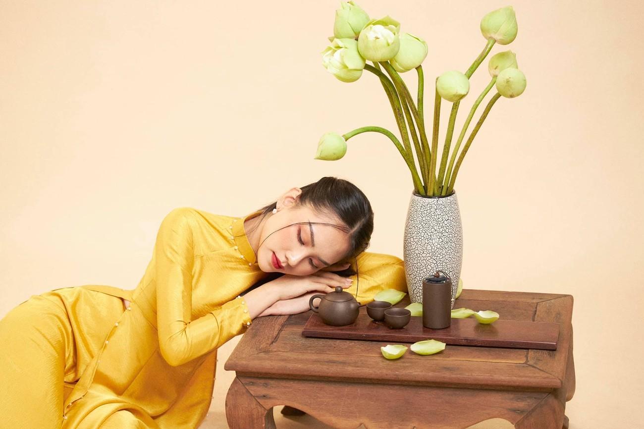 Người đẹp Nhân ái Huỳnh Nguyễn Mai Phương mặc áo dài chụp ảnh bên hoa sen đẹp như tranh ảnh 3