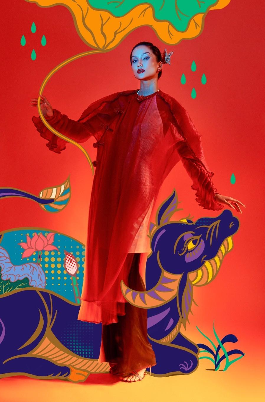 H'Hen Niê hóa mỹ nhân tranh Đông Hồ trong bộ ảnh Tết đặc biệt ảnh 1