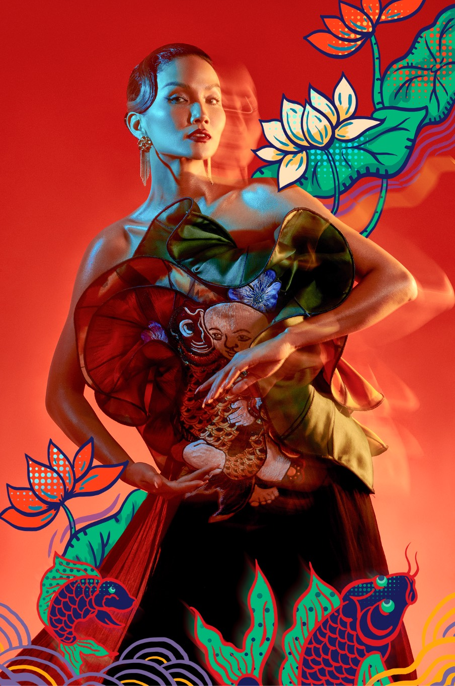 H'Hen Niê hóa mỹ nhân tranh Đông Hồ trong bộ ảnh Tết đặc biệt ảnh 2