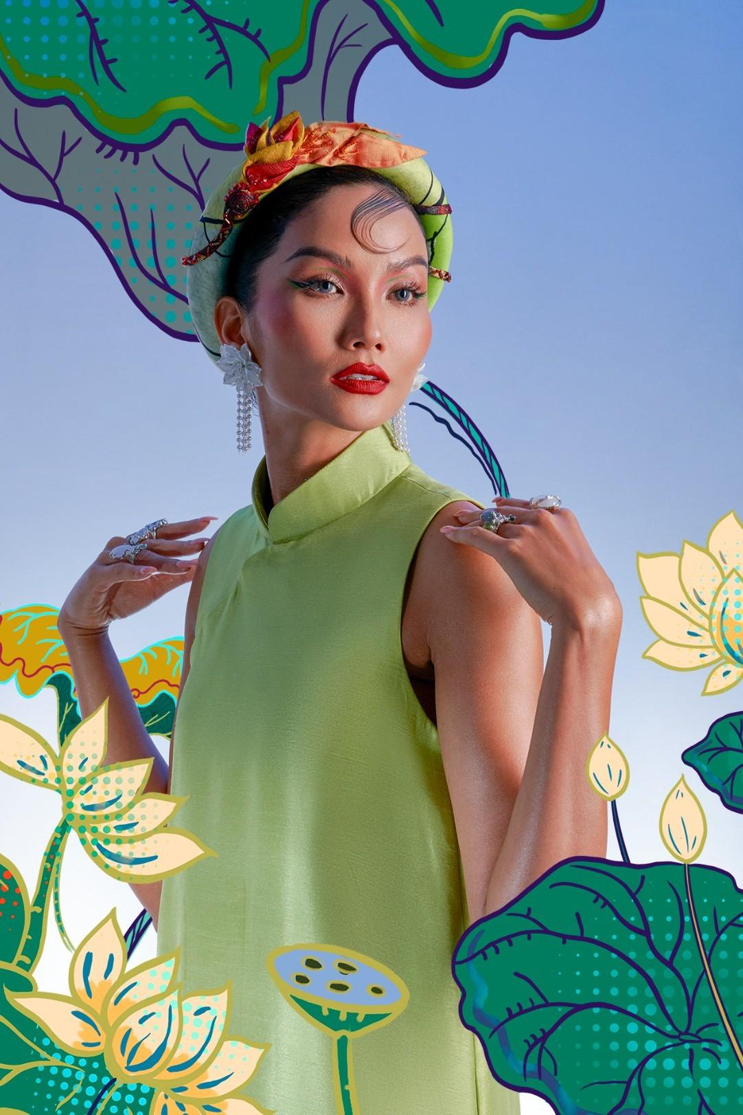 H'Hen Niê hóa mỹ nhân tranh Đông Hồ trong bộ ảnh Tết đặc biệt ảnh 5