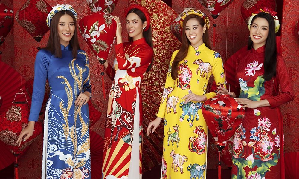 Á hậu Hoàng My tái xuất xinh đẹp với áo dài Tết, đọ sắc bên Khánh Vân - Kim Duyên ảnh 1