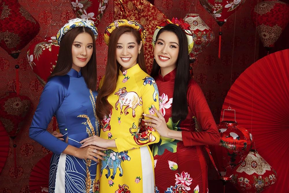 Á hậu Hoàng My tái xuất xinh đẹp với áo dài Tết, đọ sắc bên Khánh Vân - Kim Duyên ảnh 11