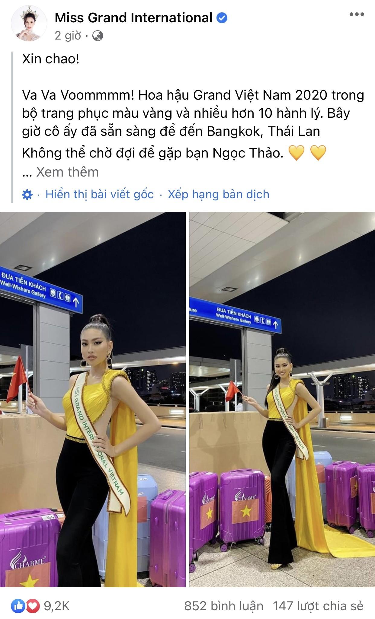 Mặc màu vàng 'phong thuỷ' ra sân bay sang Thái Lan, Á hậu Ngọc Thảo gây 'bão like' trên trang chủ Miss Grand ảnh 3