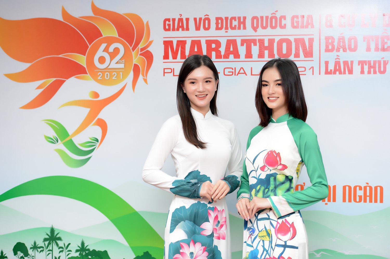 Dàn Hoa, Á hậu đọ sắc xinh đẹp tại họp báo Tiền Phong Marathon 2021 ảnh 12