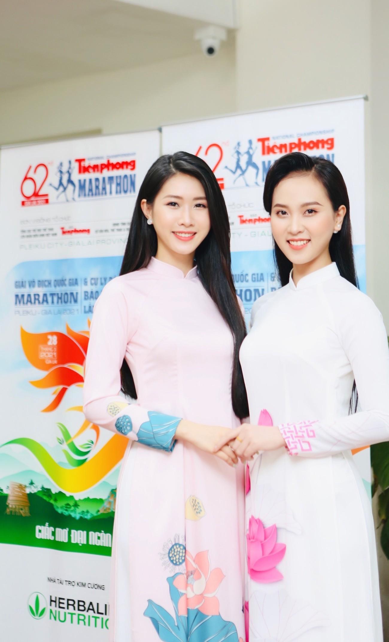 Dàn Hoa, Á hậu đọ sắc xinh đẹp tại họp báo Tiền Phong Marathon 2021 ảnh 11