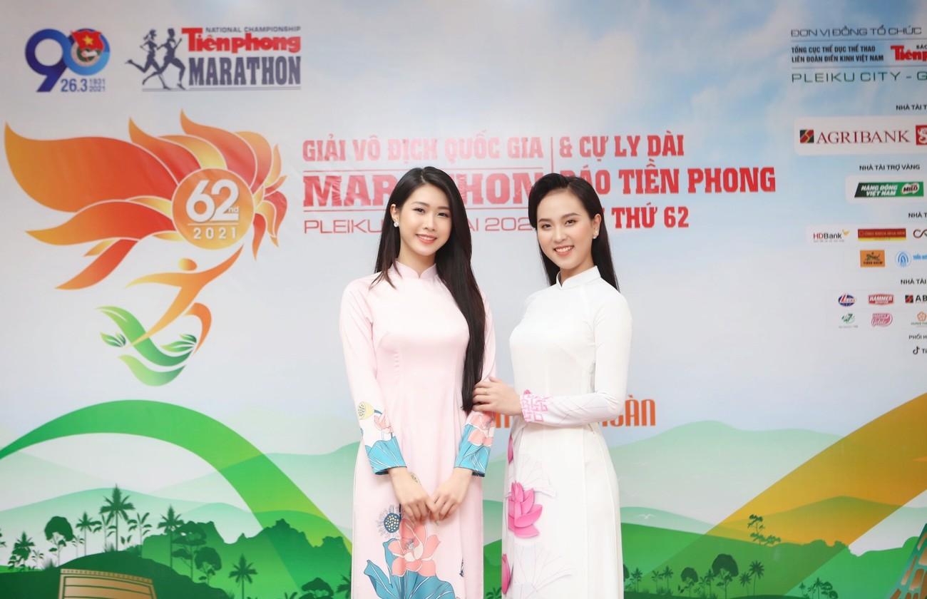 Dàn Hoa, Á hậu đọ sắc xinh đẹp tại họp báo Tiền Phong Marathon 2021 ảnh 13