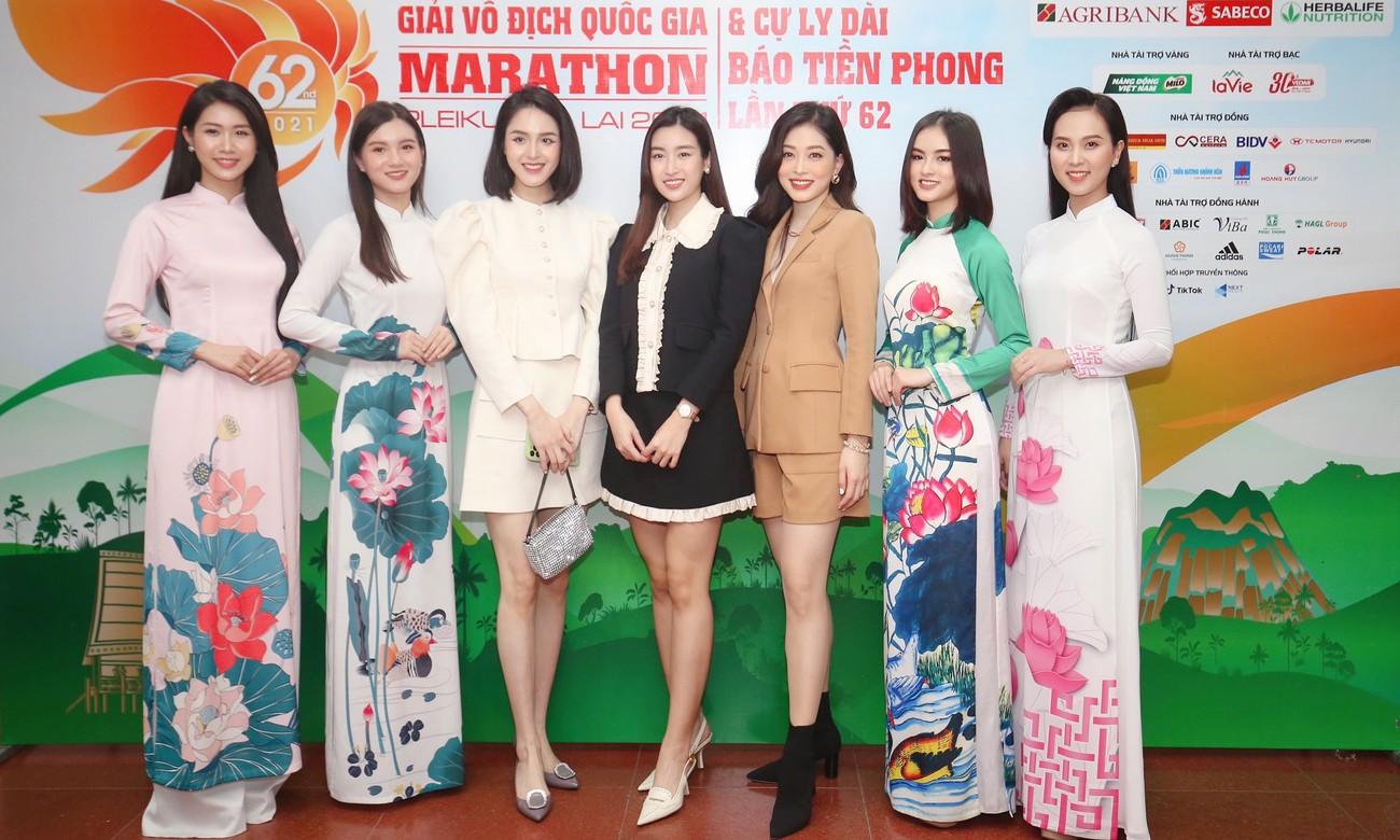 Dàn Hoa, Á hậu đọ sắc xinh đẹp tại họp báo Tiền Phong Marathon 2021 ảnh 7