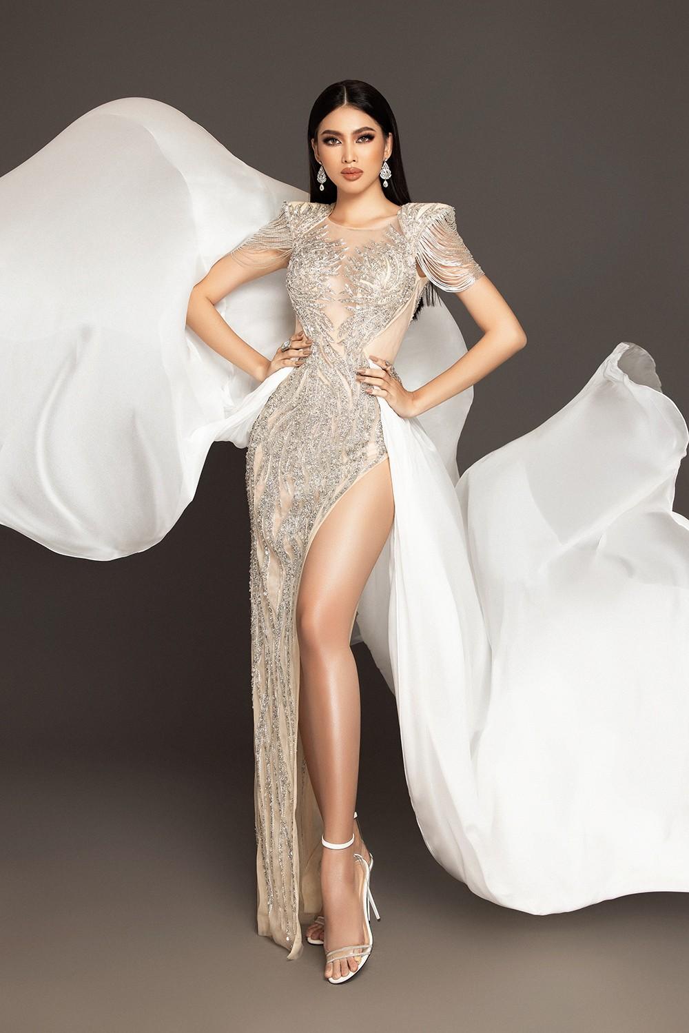Lộ diện váy dạ hội mang thông điệp hòa bình của Ngọc Thảo tại bán kết Miss Grand ảnh 1