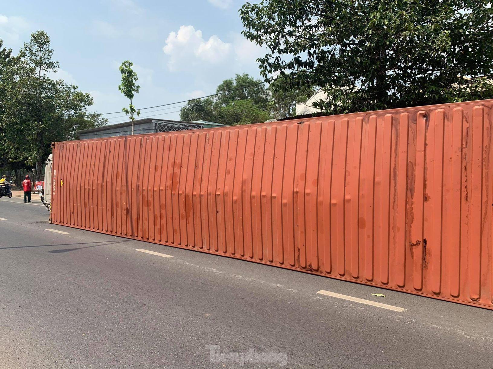 Xe container hạ gục cây xanh, lật ngang giữa đường vì tài xế ngủ gật ảnh 2