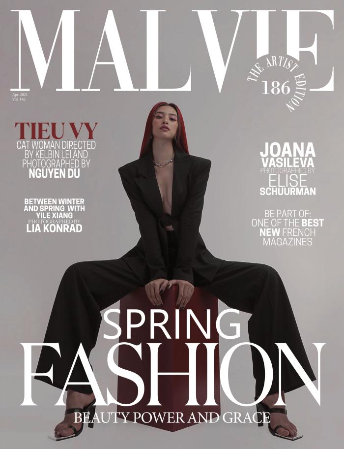 Hoa hậu Tiểu Vy bất ngờ xuất hiện trên bìa tạp chí Pháp với phong cách của một miêu nữ ảnh 1
