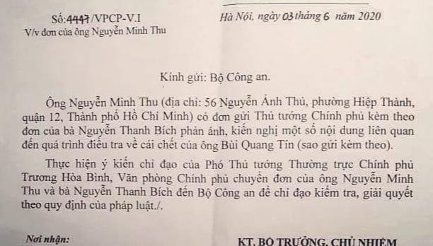 Phó Thủ tướng yêu cầu Bộ Công an giải quyết đơn vụ tiến sĩ Bùi Quang Tín tử vong ảnh 1