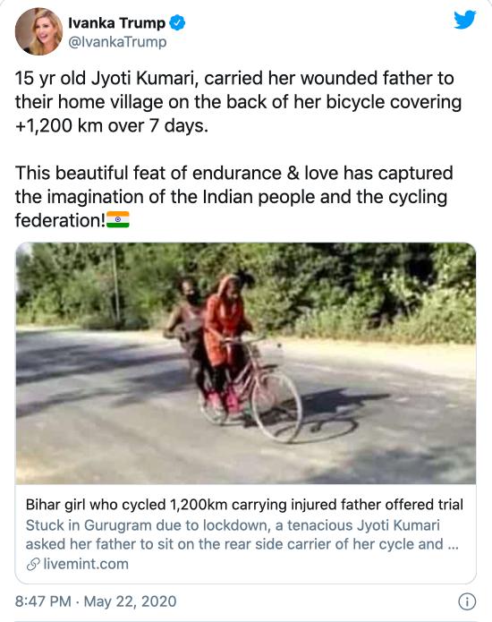 Con gái ông Trump gây tranh cãi vì khen cô bé nghèo Ấn Độ ảnh 1