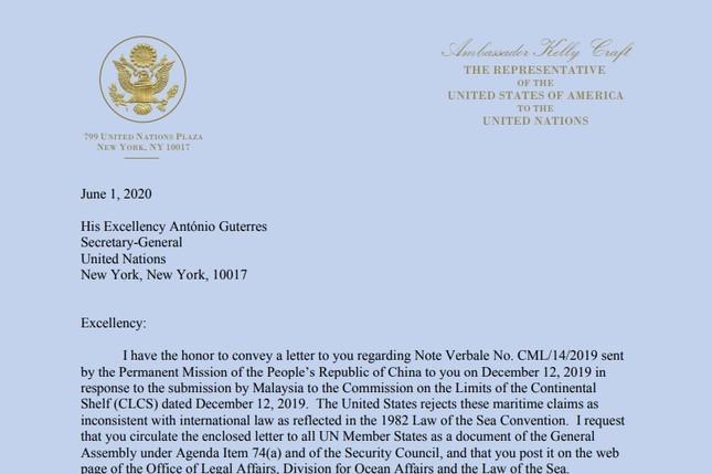 Mỹ gửi công hàm lên LHQ phản đối yêu sách 'Tứ Sa' của Trung Quốc trên biển Đông ảnh 2