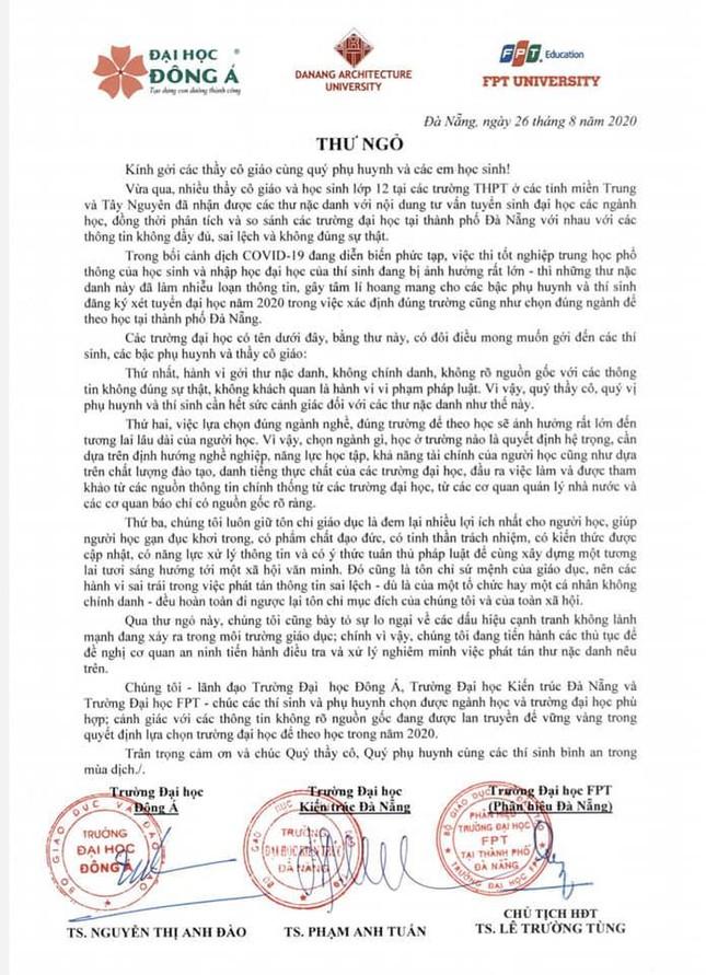 Ba trường cùng ký thư ngỏ lên tiếng về vụ phát tán tài liệu tuyển sinh tại Đà Nẵng ảnh 1