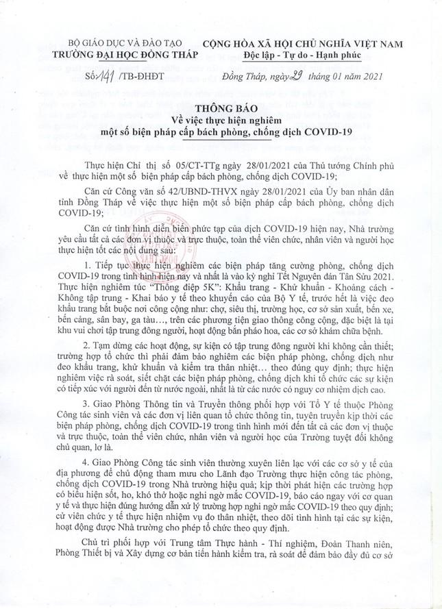 Một giảng viên trường ĐH Đồng Tháp tiếp xúc bệnh nhân 1660, cả trường ngưng hoạt động ảnh 1