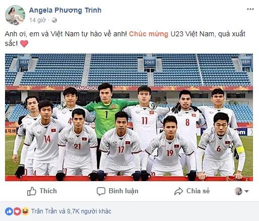 Angela Phương Trinh tiếp tục thả thính thủ môn Bùi Tiến Dũng