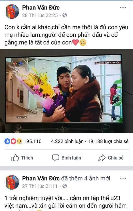 Cầu thủ U23 Việt Nam và những dòng chữ thiêng liêng tình mẫu tử ảnh 1