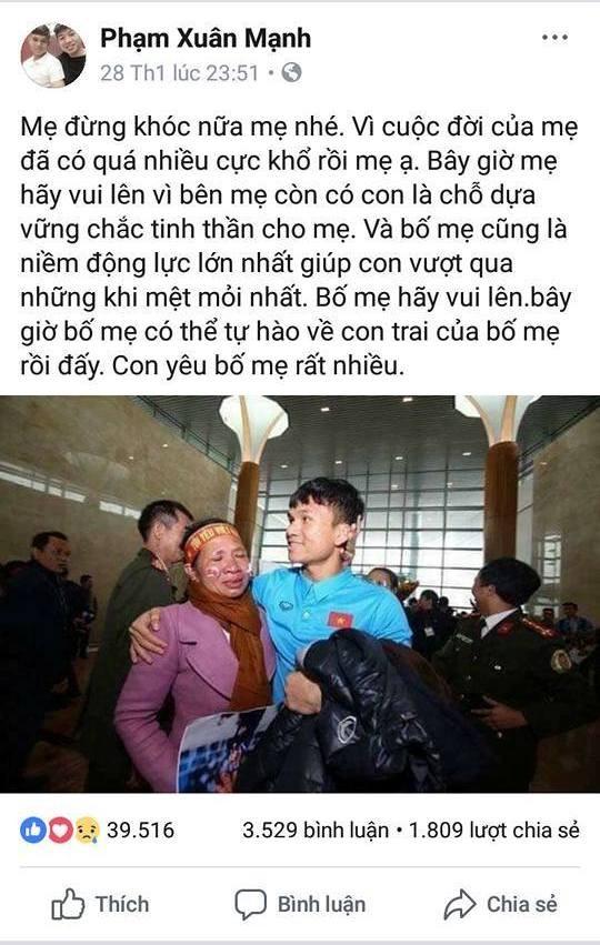 Cầu thủ U23 Việt Nam và những dòng chữ thiêng liêng tình mẫu tử ảnh 2