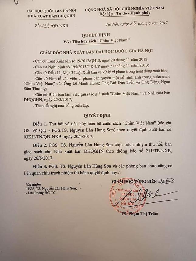 Thu hồi, tiêu hủy sách 'Chim Việt Nam' ảnh 1