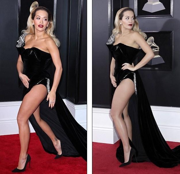 Rita Ora diện váy siêu xẻ quyến rũ hút hồn trên thảm đỏ Grammy ảnh 1