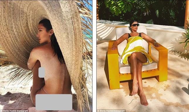 Bella Hadid áo tắm hút mắt đùa giỡn sóng biển ảnh 11