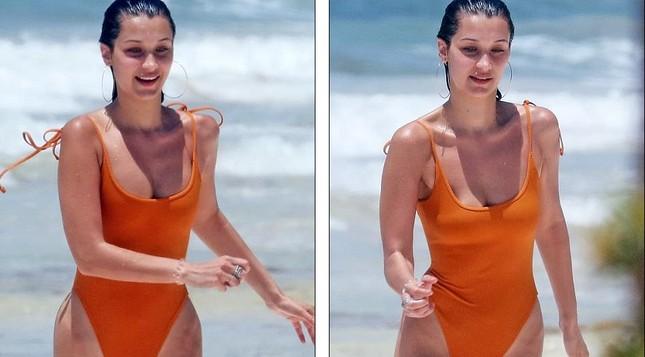 Bella Hadid áo tắm hút mắt đùa giỡn sóng biển ảnh 2