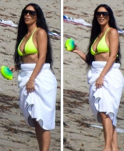 Chị em nhà Kim Kardashian rực rỡ xanh chuối ở biển Malibu ảnh 3