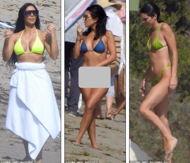 Chị em nhà Kim Kardashian rực rỡ xanh chuối ở biển Malibu ảnh 1