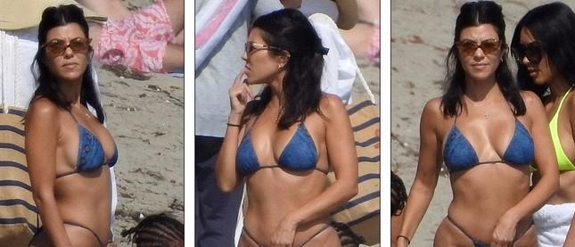 Chị em nhà Kim Kardashian rực rỡ xanh chuối ở biển Malibu ảnh 7