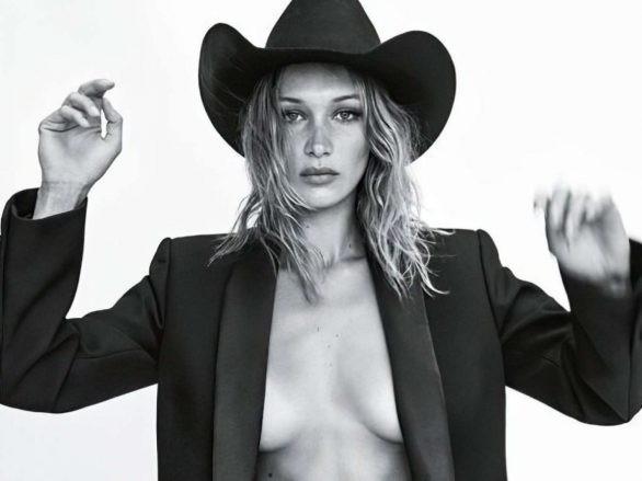 Bella Hadid 'thả rông' ngực trên Vogue ảnh 1