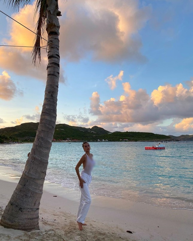 'Đỏ mặt' xem Bella Hadid áo xuyên thấu mỏng tang tạo dáng bên cây dừa ảnh 9