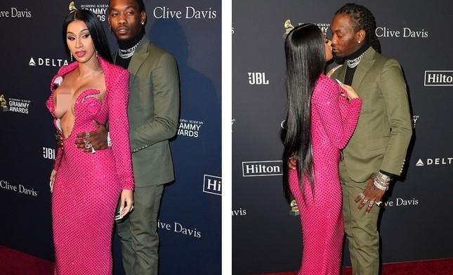 Đỏ mặt thấy nữ rapper nổi loạn Cardi B hở ngực bạo tại tiệc tiền Grammy ảnh 5