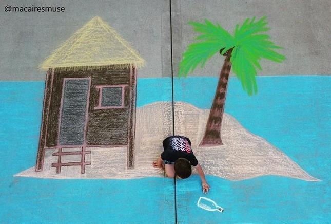 Cô bé 14 tuổi vẽ tranh 'du lịch vòng quanh thế giới' đẹp lung linh cho em trai ảnh 12